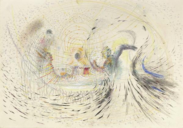 Hospoda / 1980 / pastel, tužka, tempera, papír / 21×30 cm / soukromá sbírka / foto: Martin Polák
