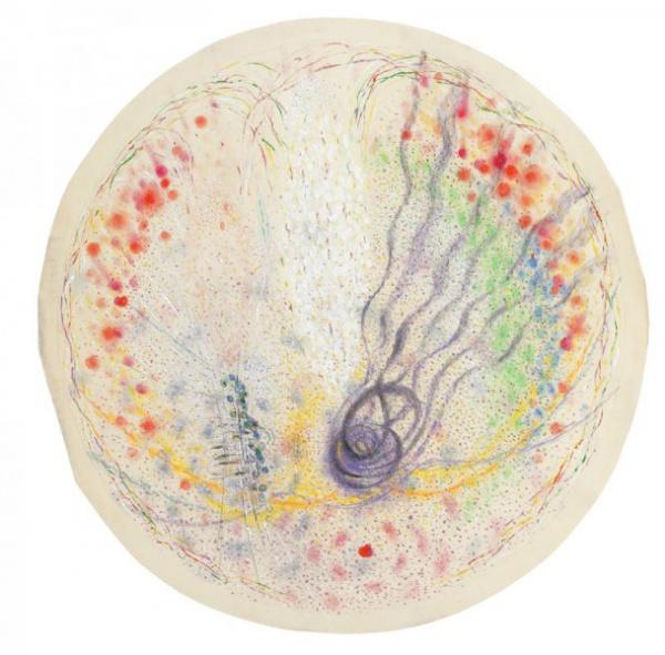 Já a ten, jehož potkávám (počínající bolest hlavy) / 1980 / pastel, tempera, papír / 75'5×73'5 cm / soukromá sbírka / foto: Martin Polák