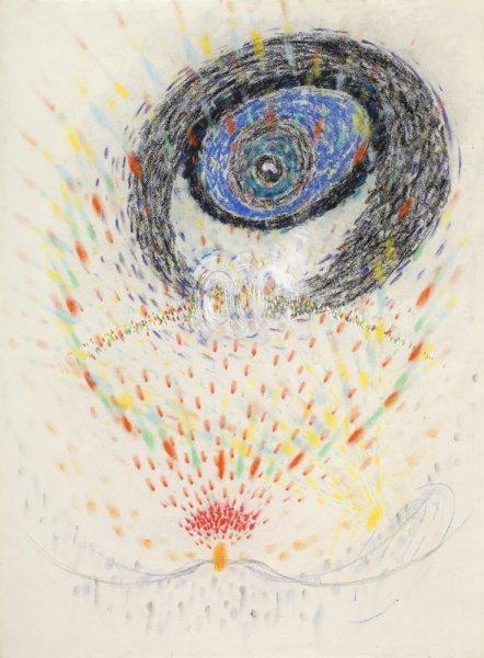 Pozoruji tři na obrysu kopce a jejich cesty / 1981–1982 / pastel, tempera, papír / 76'2×56'3 cm / soukromá sbírka / foto: Martin Polák
