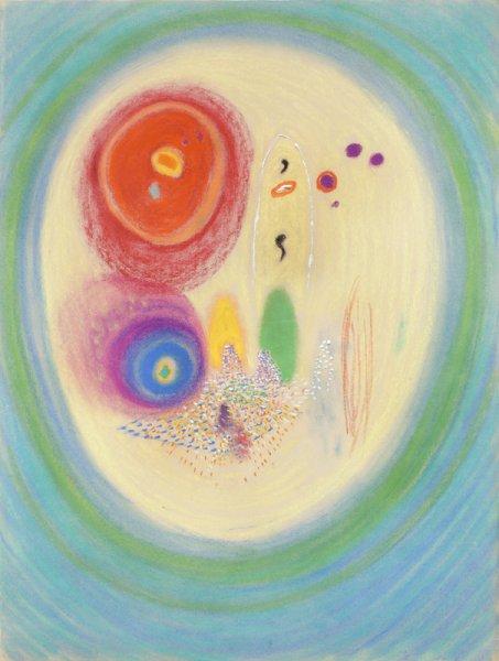 Za stolem / 1984 / pastel, tempera, papír / 63'5×48 cm / soukromá sbírka / foto: Martin Polák