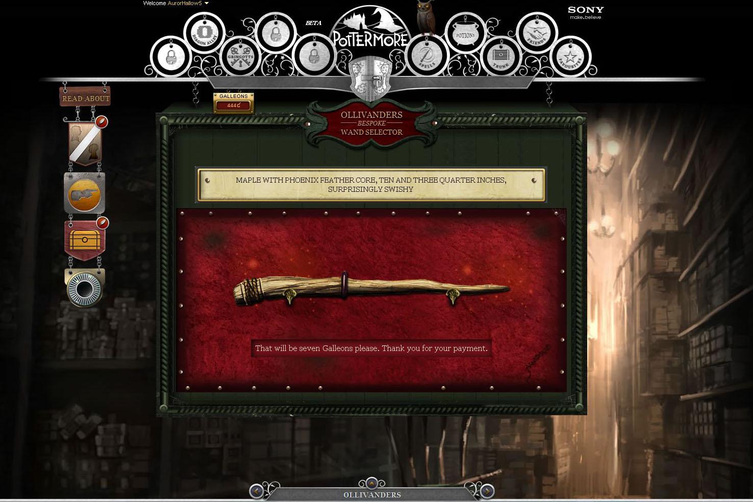 Pottermore - Hůlka