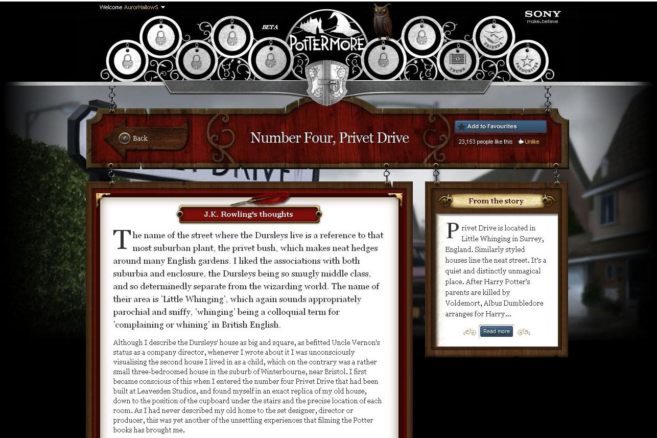 Pottermore - Popis místa