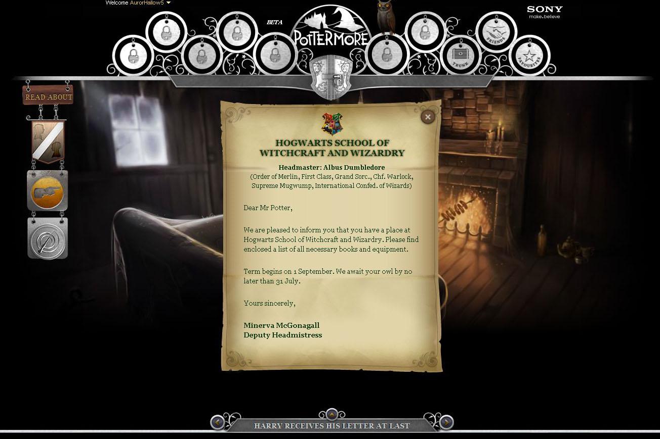 Pottermore - Dopis z Bradavic